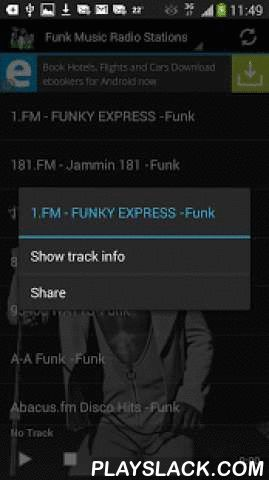 "Funk Music Radio Stations  Android App - playslack.com ,  Get free access to the best Funk Music Radio Stations! choose from over 90 live streams and enjoy funk 24/7. Optimized for all mobile devices.* Easy to use app with instant share function.* Turns radio automatically off, when you receive a call!* To share radio stations, press long and click ""share""When you exit the app while a radio station is still active and playing, you can see a small music note in the notification bar. That is…"