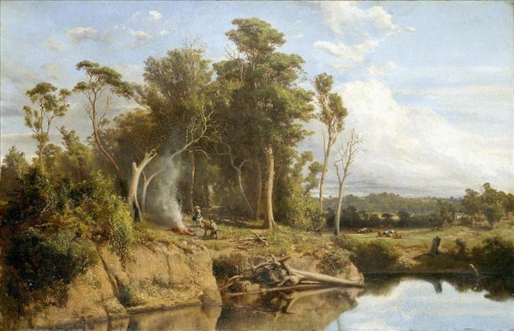 Before coming to Australia, Louis Buvelot has been associated with the Swiss followers of the Barbizon School, a group of painters who worked on the outskirts of Paris and drew inspiration from the half-settled, half-wild landscapes of the region. Buvelot is regarded as the pioneer in Australia of outdoor painting, and inspired painters associated with the Heidelberg School.  Louis BUVELOT 1814-1888 arrived in Australia 1865 Winter morning near Heidelberg 1866 oil on canvas 76.8 x 118.2 cm