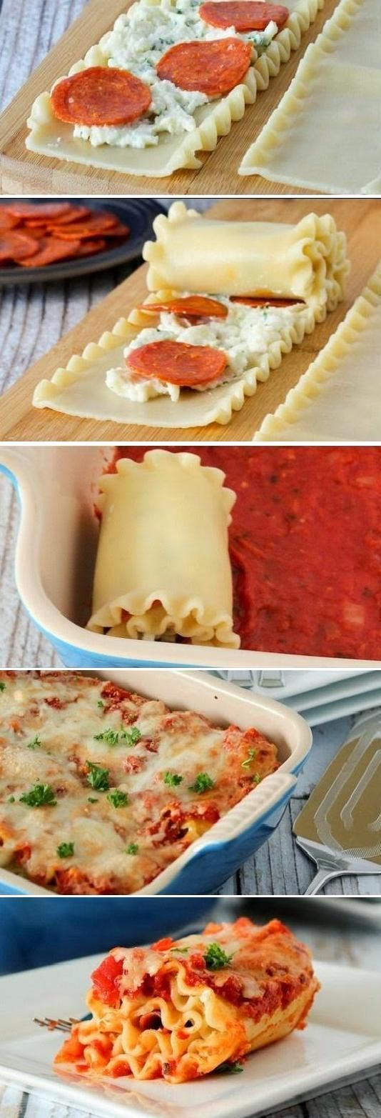 pizza lasagna rolls.  To simplify the recipe I simply used a canned pasta sauce.  Try subbing basil for parsley.  8x8 pan works well instead of a 9x13.  Would make a good mercy meal for a family.