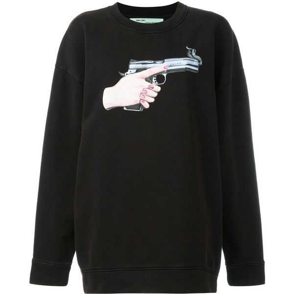 Off-White Hand Gun Sweatshirt ($545) ❤ liked on Polyvore featuring tops, hoodies, sweatshirts, black, off white tops, off white sweatshirt and cotton sweatshirts