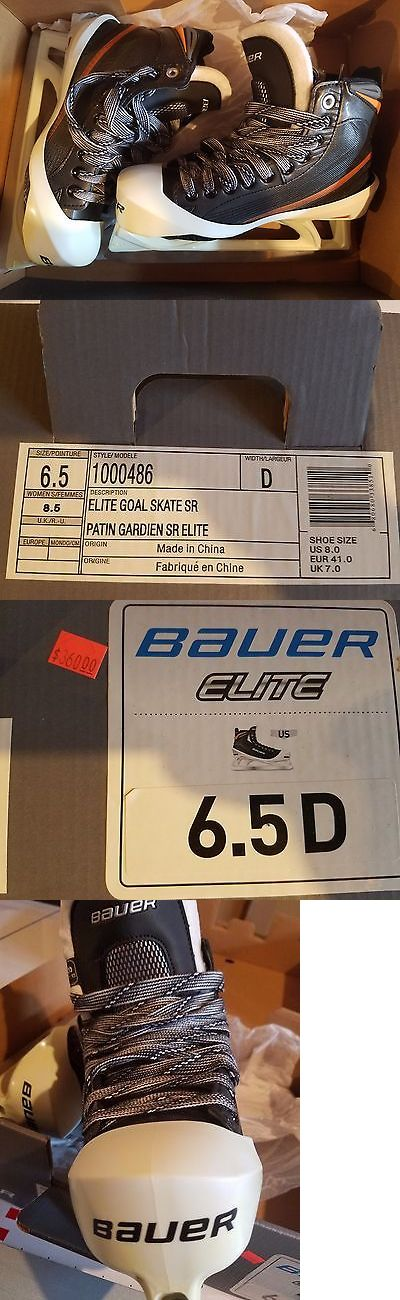 Ice Hockey-Adult 20858: Bauer Elite Hockey Goalie Skates 6.5 D - New In Box BUY IT NOW ONLY: $177.55