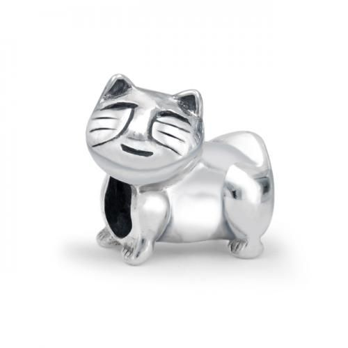 .925 Sterling Silver Kitty Cat Animal Charm Bead Pandora Compatible