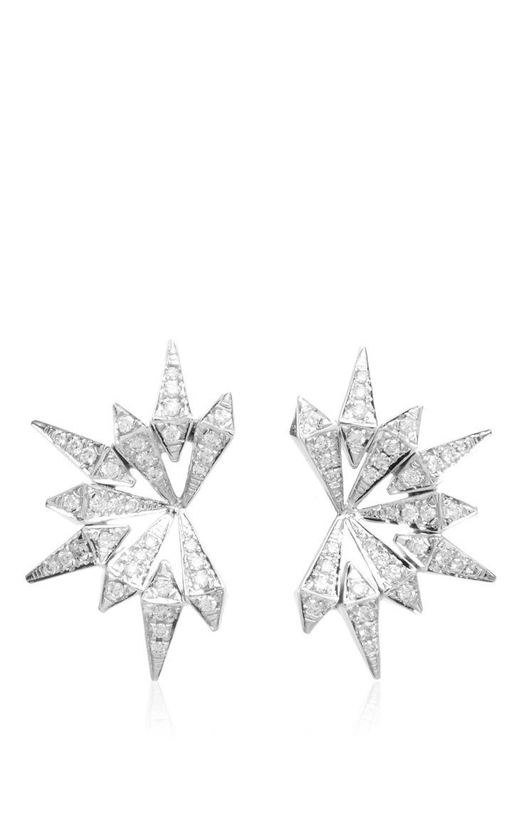 White Gold And Diamond Starburst Earrings by KARMA EL KHALIL Now Available on Moda Operandi