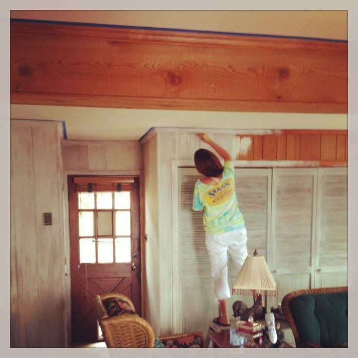 White Wash Pickling Stain On Pine: Me-white Washing Outdated Wood Panels! Thanks For Letting