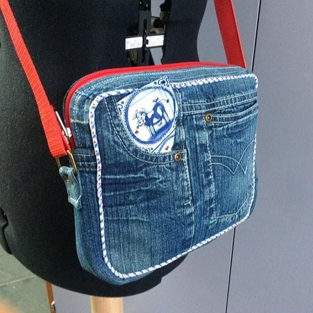 Polaris Bag made from a pair of jeans. Pattern in Bag of the Month Club; Sew Sweetness