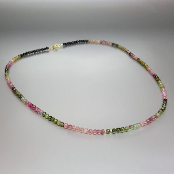 Check out Beaded Watermelon Tourmaline Necklace with 14K gold plated elements - gift idea on gemorydesign