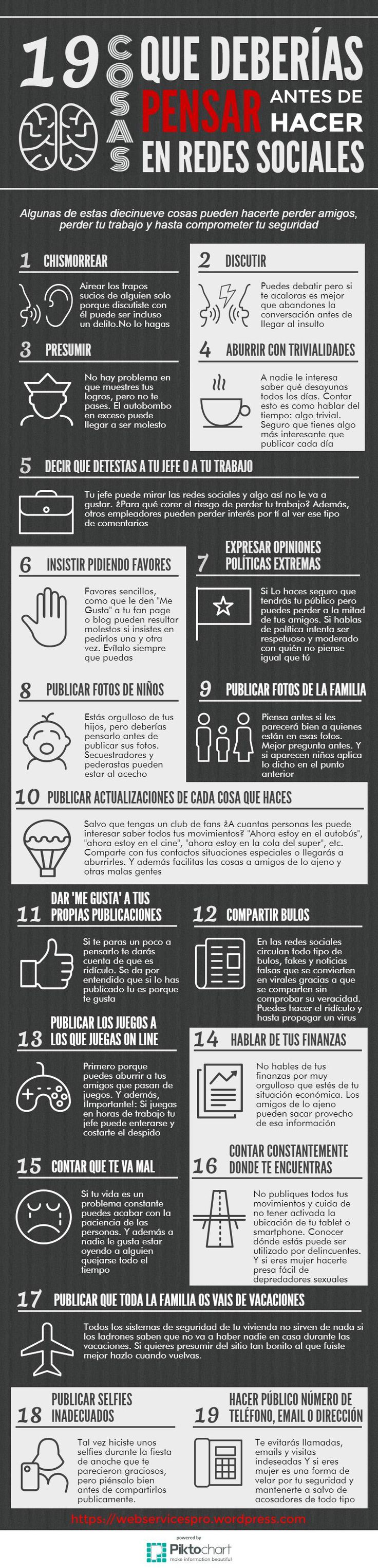 #RedesSociales 19 cosas que deberías pensar antes de hacer en redes sociales  #SocialMedia