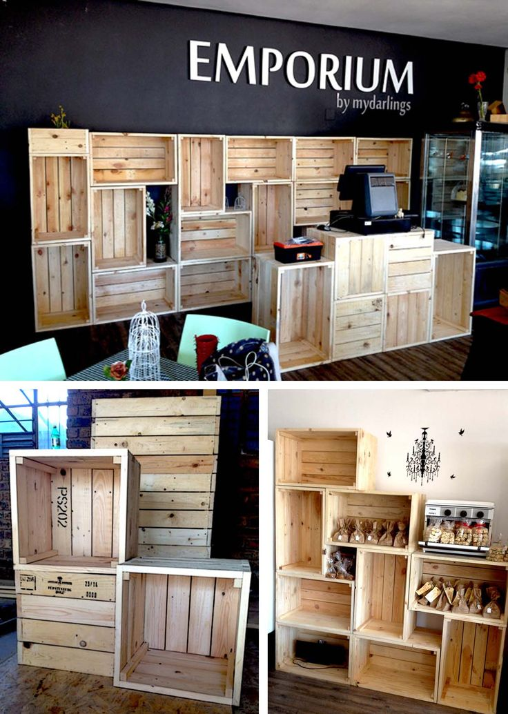 Wooden Pine Crate Installation. Display Wall and Counter