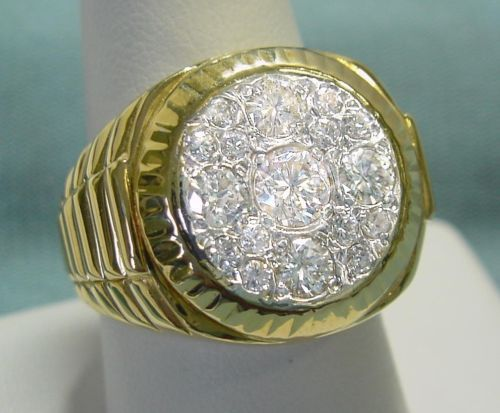 men s 2ct gold ring in heavy 18k yellow gold