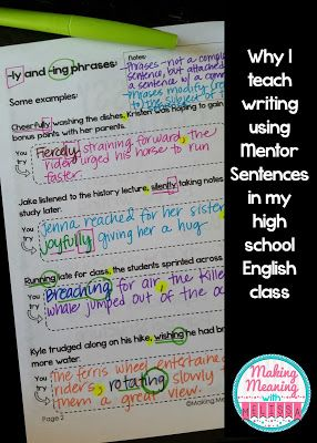 Why I Teach Writing Using Mentor Sentences in my High School English Classroom