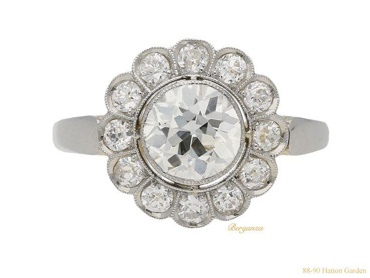 Antique diamond coronet cluster ring, circa 1905.