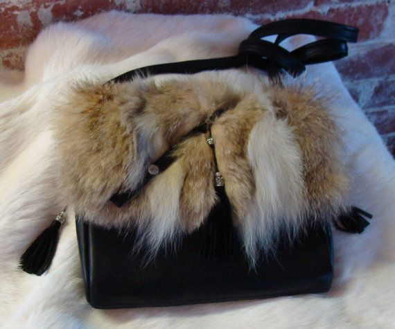 Women recycled fur bag handmade, Sac à main fourrure recyclée et cuir