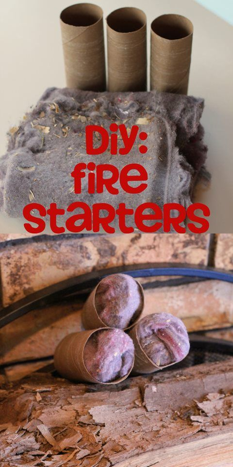 Here is an easy DIY firestarter you can make with stuff you normally throw away. Wad up your old dryer lint and stick it inside a toilet paper tube. Easy starter for the fire pit!