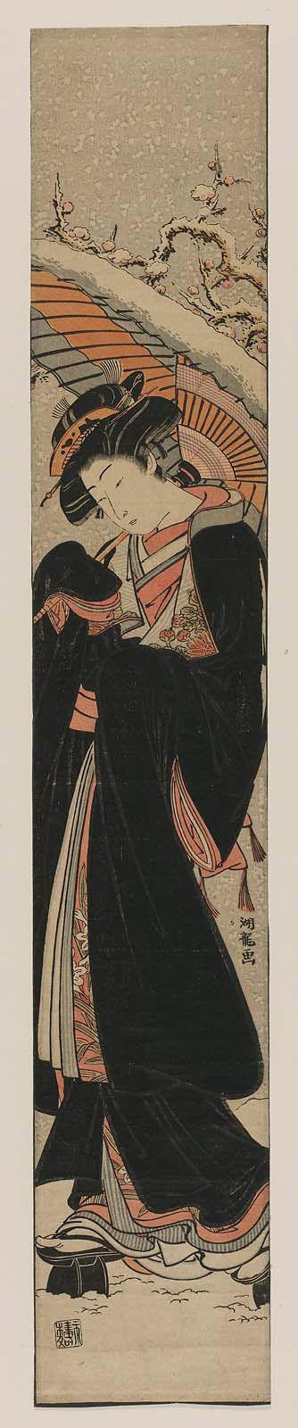 Woman in Black Raincoat (Kappa) Walking in Snow  雪中に黒い合羽の女 Japanese Edo period about 1777 (An'ei 6) Artist Isoda Koryûsai (Japanese, 1735–1790)