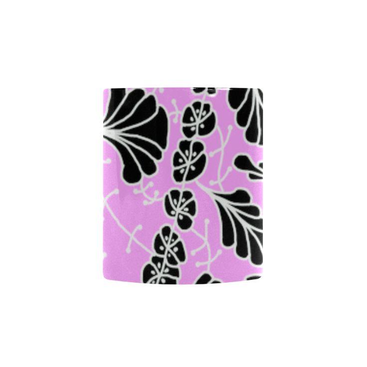 CVDr0098 Pink White Black Tangle Flowers Custom Morphing Mug