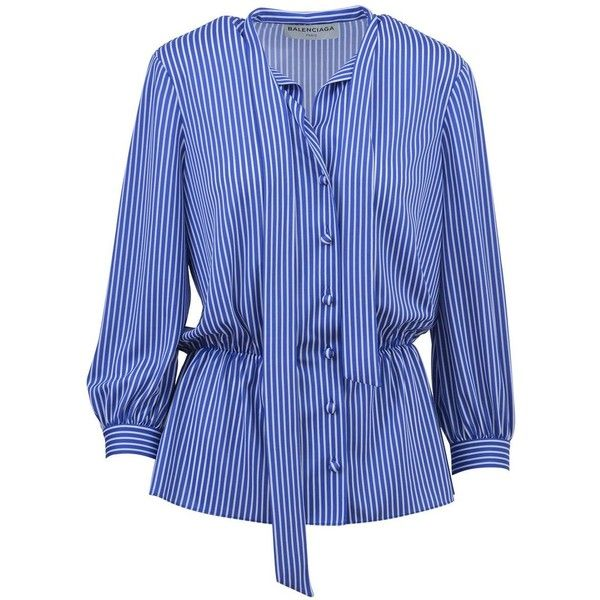 Balenciaga Lavalliere Striped Shirt (21,325 THB) ❤ liked on Polyvore featuring tops, blue, blue stripe shirt, striped top, balenciaga shirt, blue shirt and balenciaga