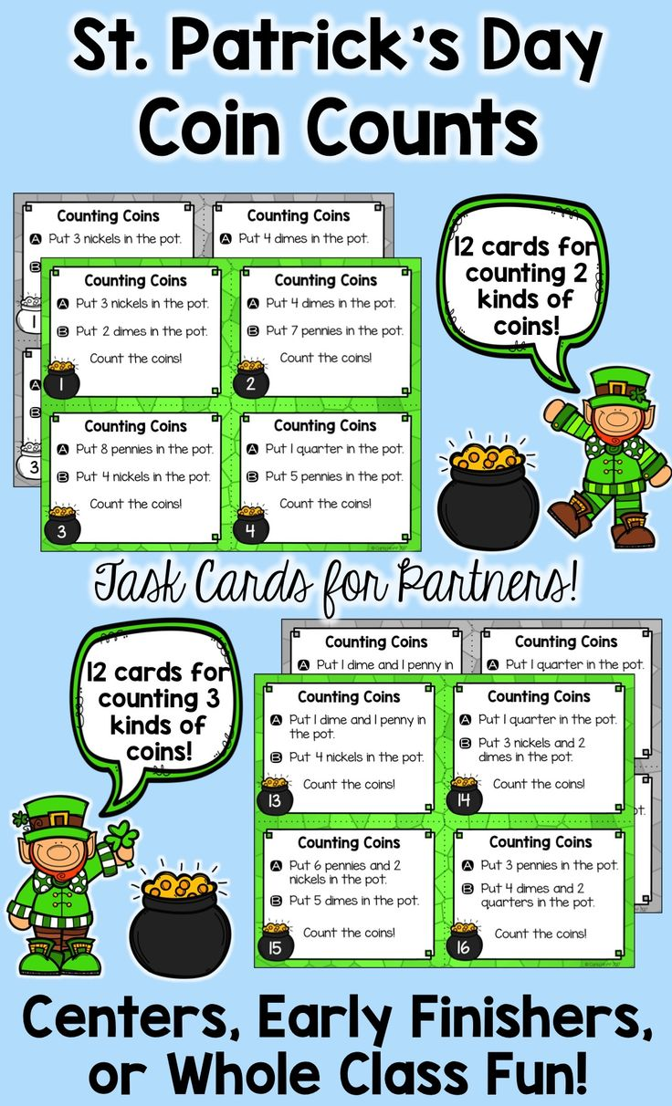 "Partners will have fun counting groups of coins with values totaling less than $1.00 using these St. Patrick's Day task cards!  Following the directions on the task cards, partners put coins in the ""pot of gold"" and then count to find the total value. Perfect for centers, early finishers, or as a daily math warm-up! Easy prep for you, maximum engagement for your students!"