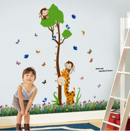 Giraffe Height Combo ~ Perfect for tracking the progress of your children while at the same time creating a beautiful wall feature.  This combination pack includes the British Colourful Butterfly Grasses sticker.  This product can be attached directly to the walls, window, screens, mirrors, etc.  It is self-adhesive and water & steam resistant and can be easily removed when required.  Overall finishing size 175cm Width x 165cm Height, depending on your preference to decorate your wall…
