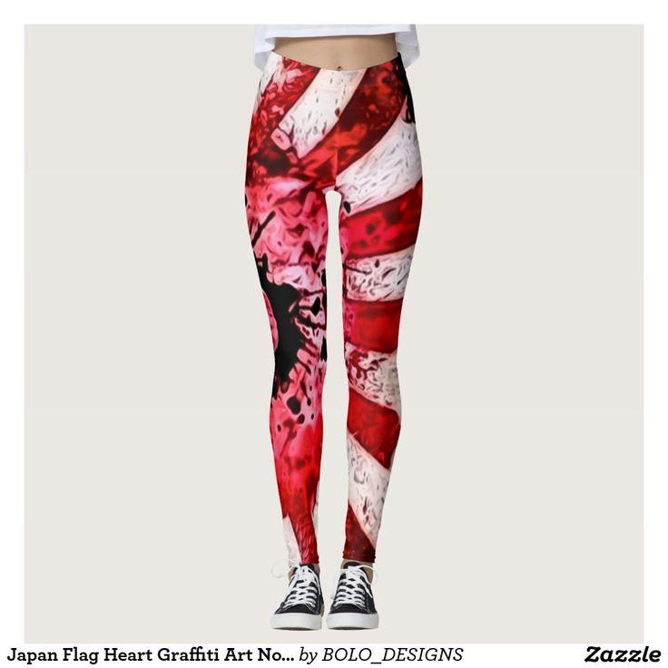 Japan Flag Heart Graffiti Art Nouveau Leggings