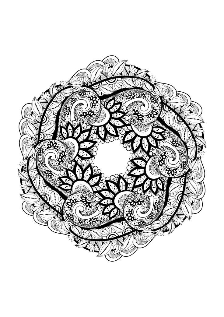 381 best images about colouring mandalas on pinterest - Mandala adulte ...
