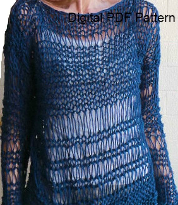 Baggy Sweater Easy Knitting Pattern PDF Pattern Oversized Sweater Loose Sweater Long sleeved Sweater Is not a finished product. It is a PDF