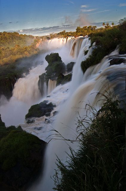 Iguazu Falls on the Iguazu River, border of Argentina and Brazil, Iguazu National Park, Argentina.  Go to www.YourTravelVideos.com or just click on photo for home videos and much more on sites like this.