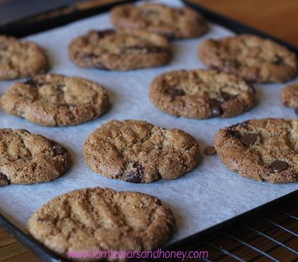 Delicious flourless almond butter choc chip cookies.