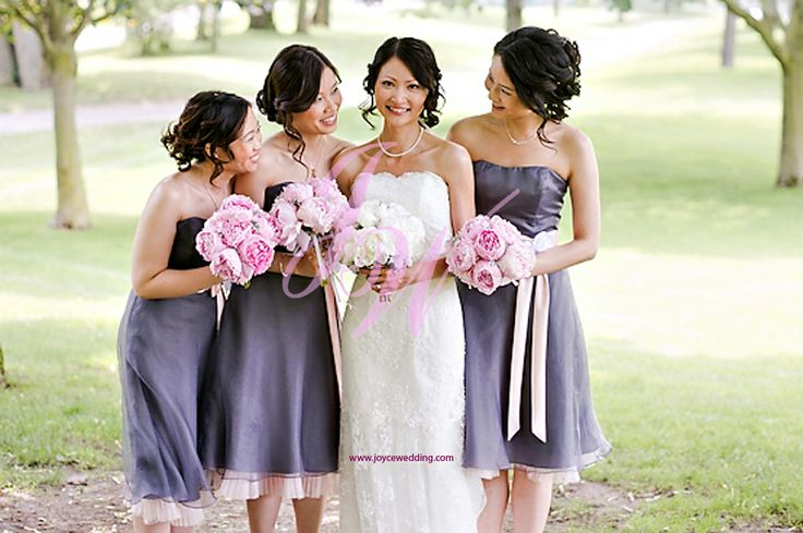 Grey Purple Bridesmaid Dresses