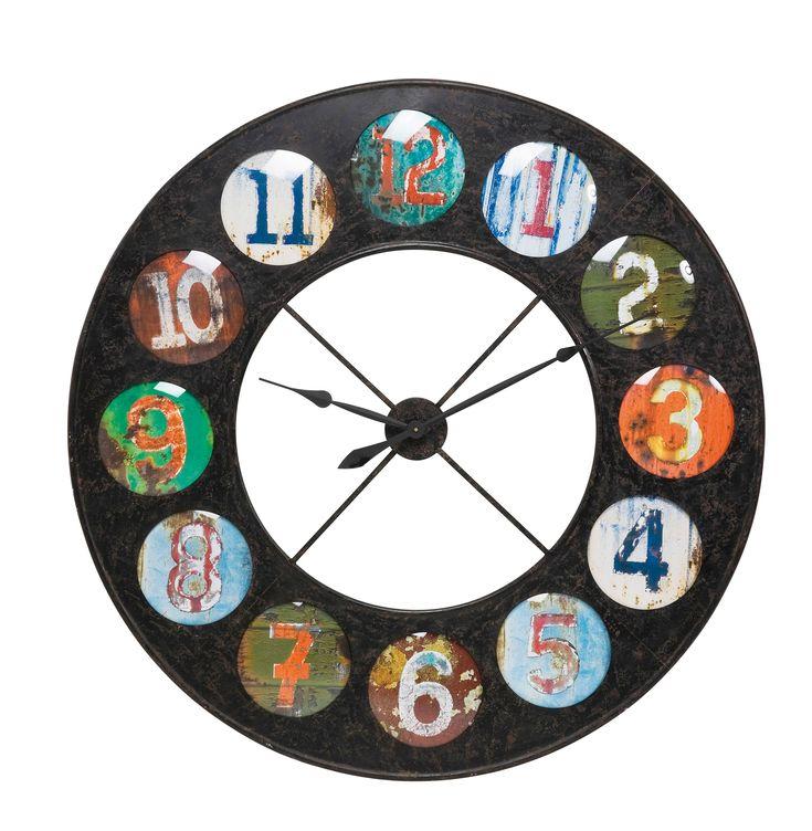KARE Design Wanduhr Vintage Coloure aus kreisförmigem Eisenrahmen mit bunten runden Zahlen und individuelle Farbzusammensetzung für jede Stunde als eigener Farbkreis. Papier hinter Glas und mit gefärbtem Hintergrund. #KARE #KAREDesign