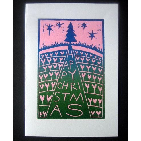 Christmas Card - Tree (Linocut)