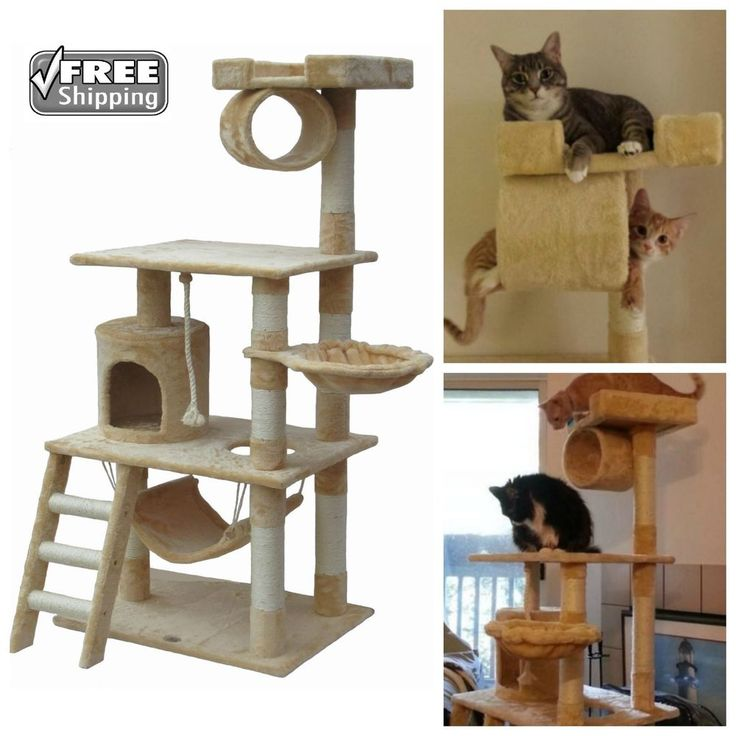 Cat Tree Go Pet Club Furniture 62 in Keep Your Cats Off Your Furniture Faux Fur #GoPetClub