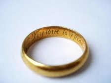 17th - 18th century Gold posy ring with inscription: My loue to yee shall endles be