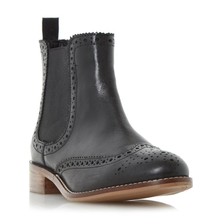 DUNE LADIES QUENTON - Brogue Chelsea Boot - black | Dune Shoes Online
