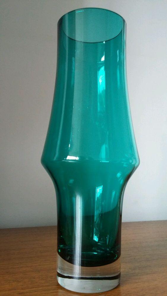 Vintage Mid Century Modern Riihimaki Green Glass Vase Finland