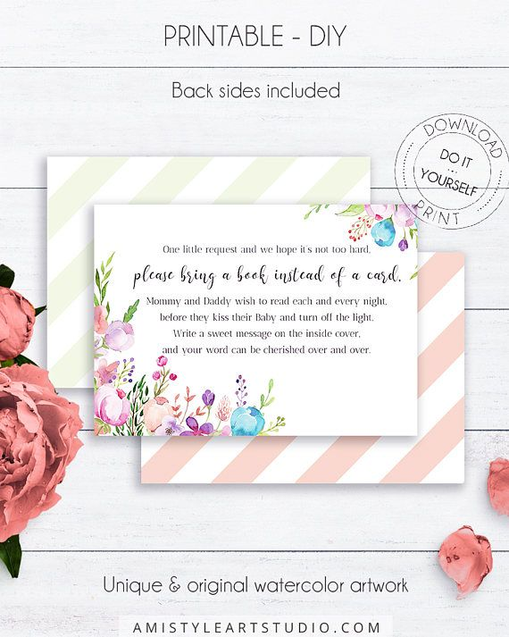 Floral Baby Book Request, with fresh and colorfull watercolor floral design in classy and boho style.This adorable baby shower book request card listing is for an instant download PRINTABLE PDF so you can download it right away, print it at home or at your local copy shop by Amistyle Art Studio