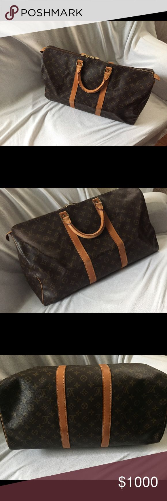 💯 Authentic LOUIS VUITTON 🌹🌹🌹KEEPALL 50🌹🌹🌹 💯 Authentic LOUIS VUITTON 🌹🌹🌹KEEPALL 50🌹🌹🌹 Normal wear, no smell no odors, beautiful piece. Carry on size ✅ travel cabin size ✅💲💲 OPEN TO OFFERS💲💲💚💚💚 DONT WAIT! MAKE AN OFFER NOW 👇👇👇👇👇👇😃 Louis Vuitton Bags Travel Bags