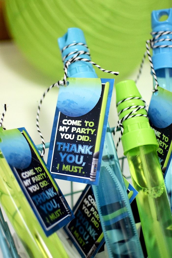 Lightsaber bubble wand favors from a Star Wars Birthday Party on Kara's Party Ideas | KarasPartyIdeas.com (4)