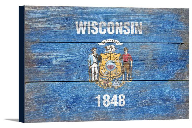 Canvas (Wisconsin Flag - Barnwood Painting - Lantern Press Artwork)