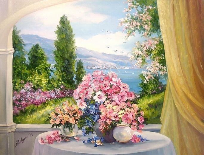 """Anca Bulgaru """"Любимый вид из окна"""", картина раскраска по номерам, размер 40*50см, цена 750 руб. картины своими руками"""