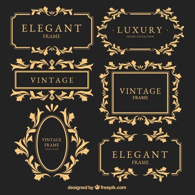 quadros de ouro do vintage ajustados Vetor grátis