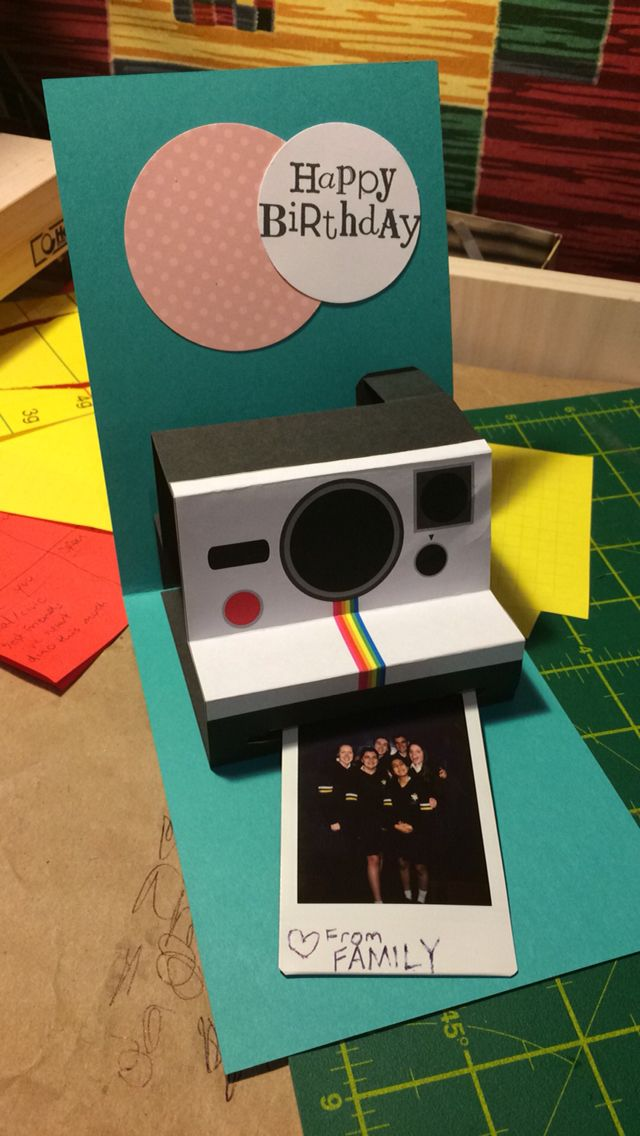 Polaroid camera birthday card. Made from http://www.extremepapercrafting.com/2012/07/polaroid-camera-pop-up-birthday-card.html?m=1