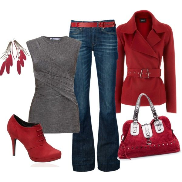 loving the redShoes, Fashion, Red, Style, Clothing, Jackets, Jeans, Fall Outfit, Coats