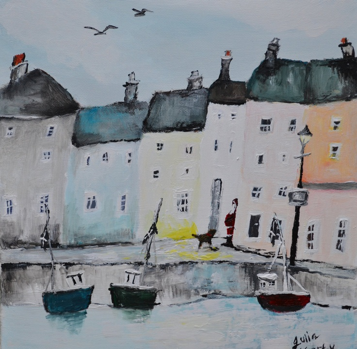 Original acrylic painting on canvas WINTER HARBOUR  Art from Cornwall. £55.00, via Etsy.