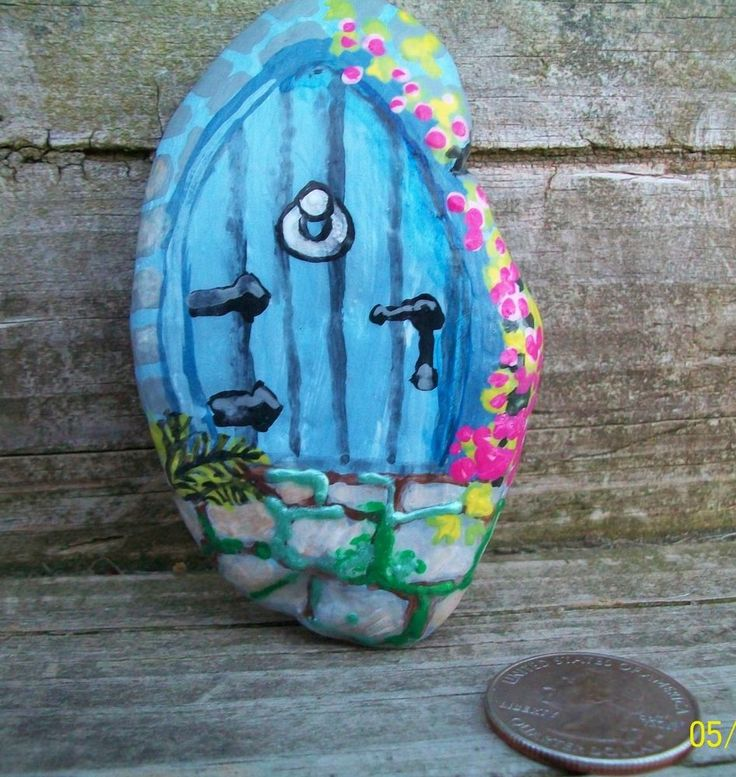 196 best images about pebbles and stones doors on for Painted fairy doors