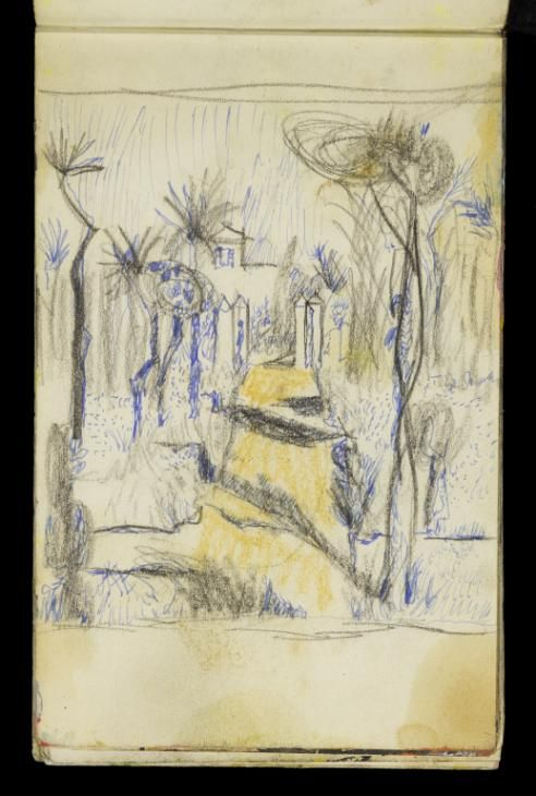 Graham Sutherland OM 'Sketch of a view down a pathway towards the entrance gates of a villa in the South of France', [c.1952] © The estate of Graham Sutherland