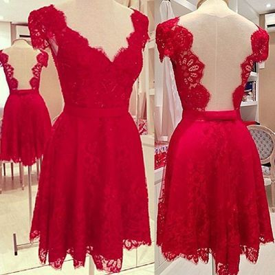 short prom dress, red prom dress, lace prom dress, junior prom dress, cap sleeve prom dress, cheap prom dress, v-neck prom dress