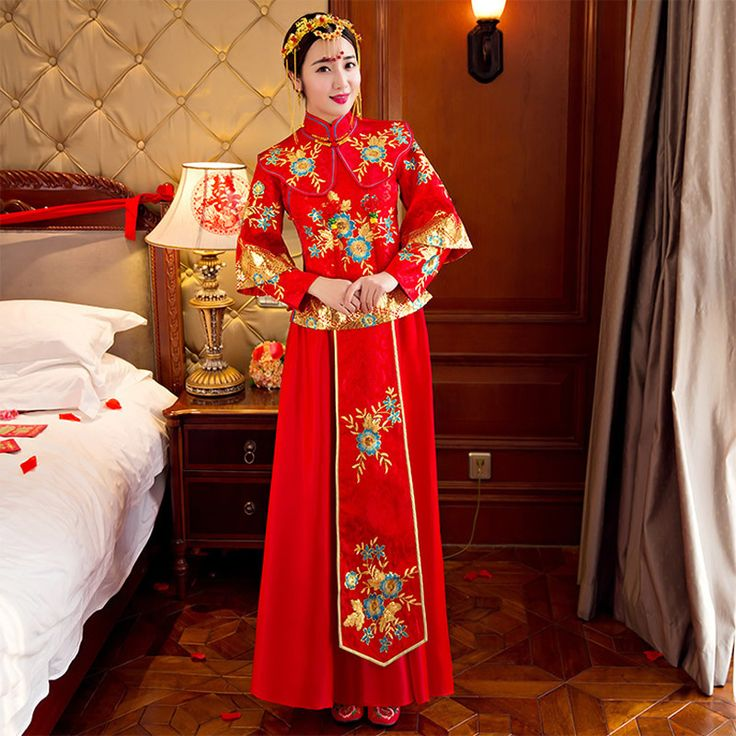 >> Click to Buy << Traditional Chinese Dress Women Plus Size Cheongsam Oriental Style Dresses Red Qipao Robe Mariage Chinoise Embroidery Qi Pao #Affiliate