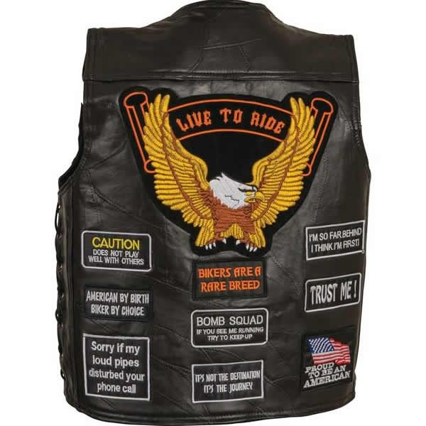 Diamond Plate Gold Eagle Patch Mens Leather Side Lace Conceal Carry Motorcycle Vest comes in solid black, is made of buffalo leather with side lace for size adjustment with 2 interior conceal carry pockets (One Interchangeable Holster) and a large gold eagle patch on the back in a lightweight style for bikers and cruiser style motorcycle riders.