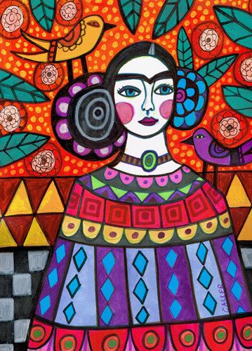 50% de hoy  Mexican Folk art arte imprimir cartel de Heather