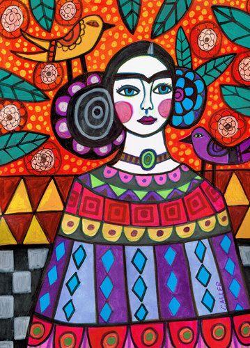 50% de hoy  Mexican Folk art arte imprimir cartel de Heather